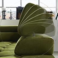 Nastavljivi vzglavniki zelene barve sedežne garniture znamke Polipol