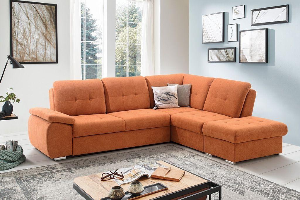 Klasična kotna sedežna garnitura Kota v oranžni barvi