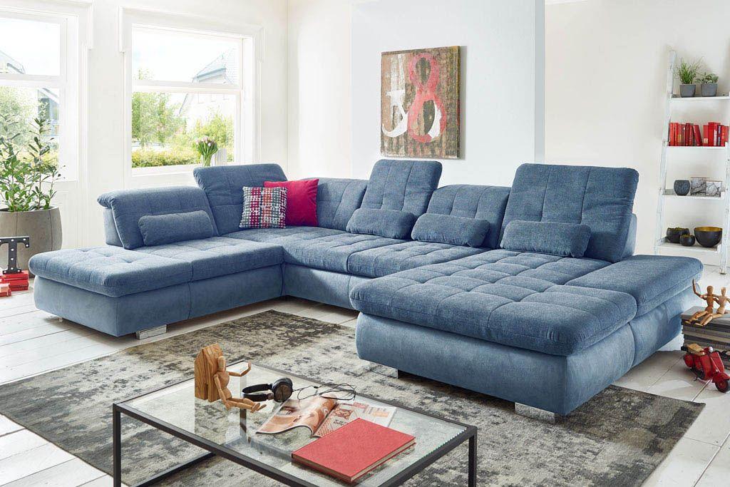 Sedežna garnitura Stage U oblike znamke Polipol v modri barvi